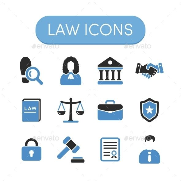 Law Icons by filborg Set of grey and blue vector justice, law and legal icons.Includes following icons: investigation, judge, court house, handshake (c