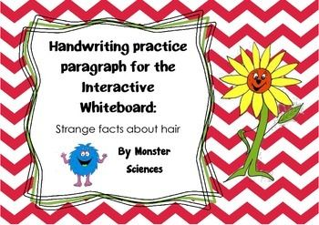 Handwriting practise for whiteboard - Strange facts about hair