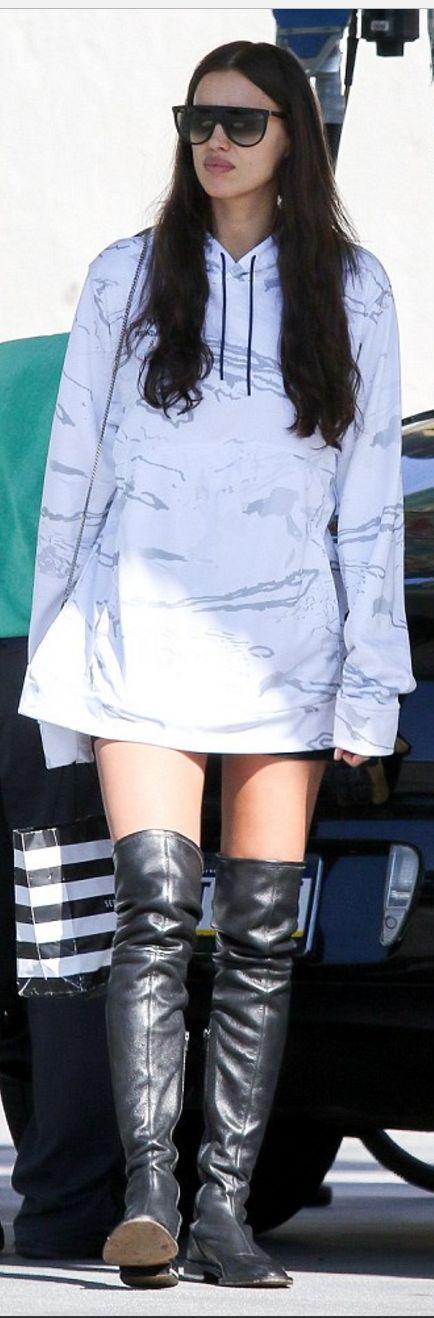 Irina Shak in Sunglasses – Saint Laurent  Sweatshirt – Under Armour  Shoes -Chanel
