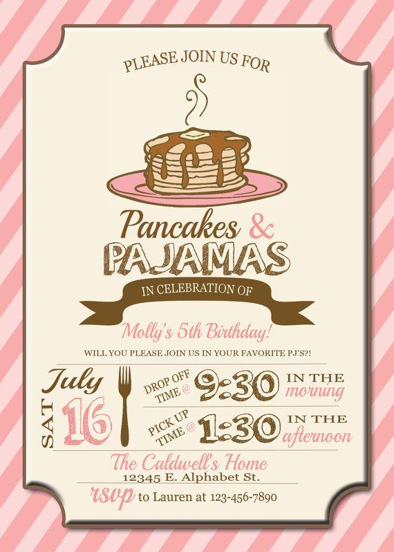 Pajamas and Pancakes Birthday Invitation  by Thedomesticmom