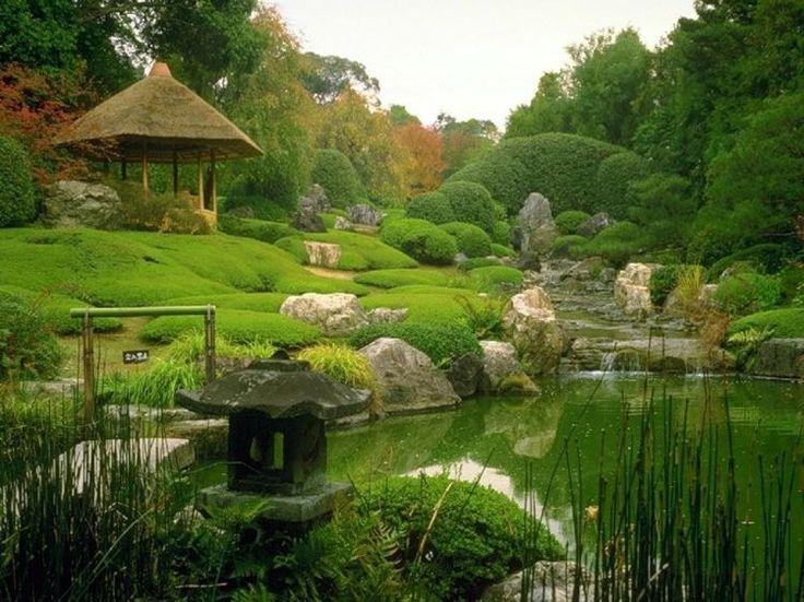 jardin avec plantes couvre-sol de style japonais et pavillon en bois exotique