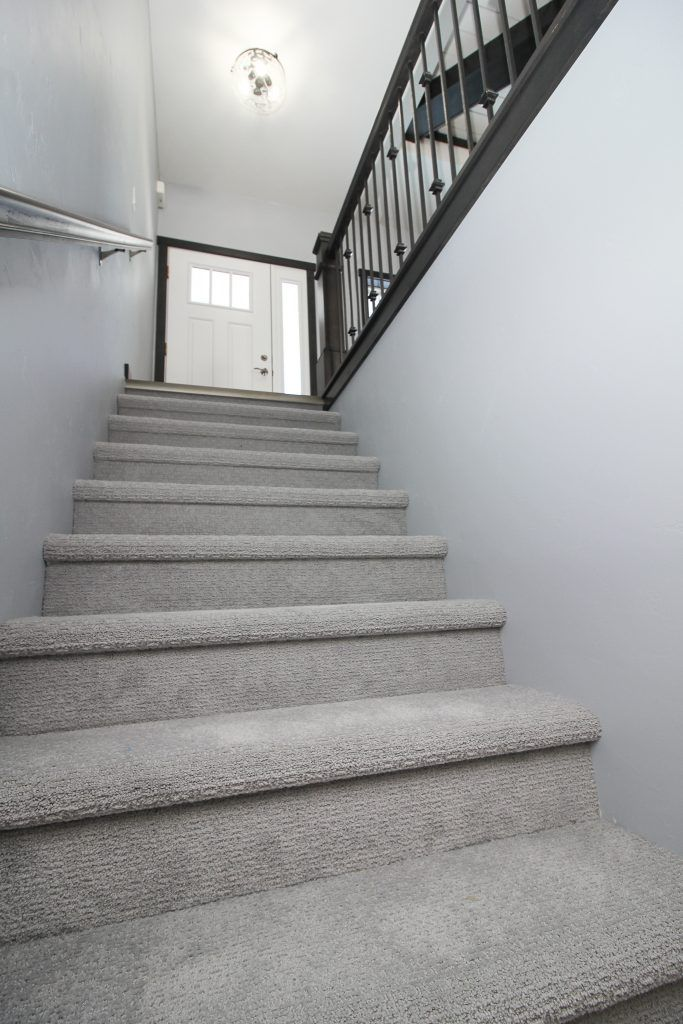 Grey Textured Carpeted Staircase Carpet Staircase Stairway | Gray Carpet On Stairs | Contemporary | Geometric | Design | Grey Pattern | Farmhouse