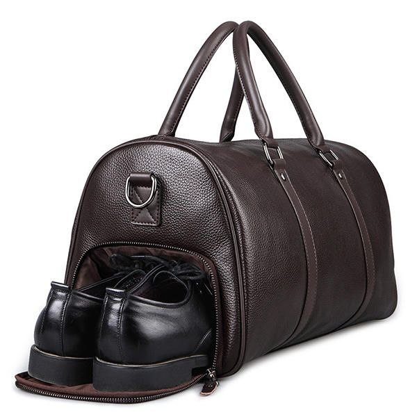 Men Leather Business Handbag Multifunction Large Capacity Travel Bag with Shoes - US$156.20