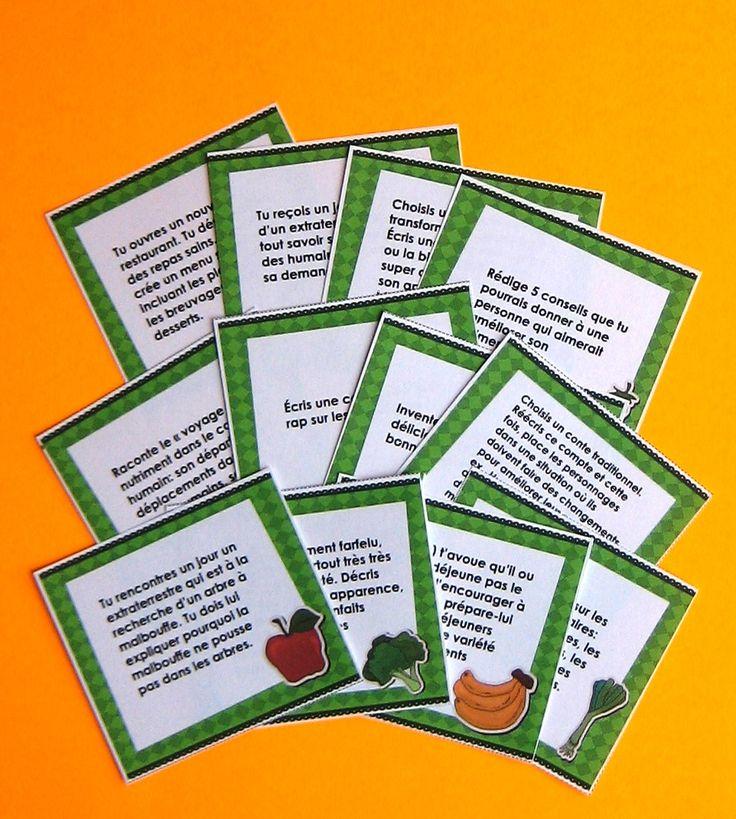 Sujets d'écriture sur l'alimentation (8-10 ans)  Idéale pour les périodes d'écriture autonome ou la composante travaux d'écriture des 5 au quotidien, cette activité saura certainement susciter la motivation de vos jeunes auteurs. Au cours de cette activité, les élèves rédigent un court texte à partir d'un sujet d'écriture sur le thème de l'alimentation, choisi parmi les sujets proposés.