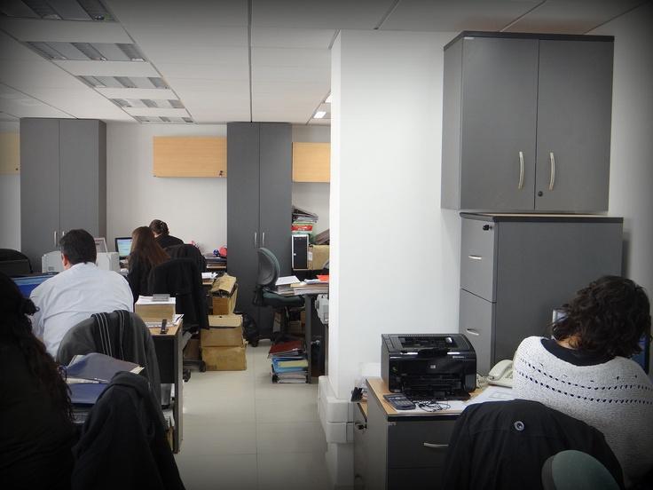 Vista general de oficina contable. Muebles escritorios, closet para archivadores. Enchapados en lamitech duotono.
