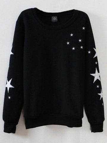 Women Long Sleeve Stars Printed Cotton Casual Sweatshirt