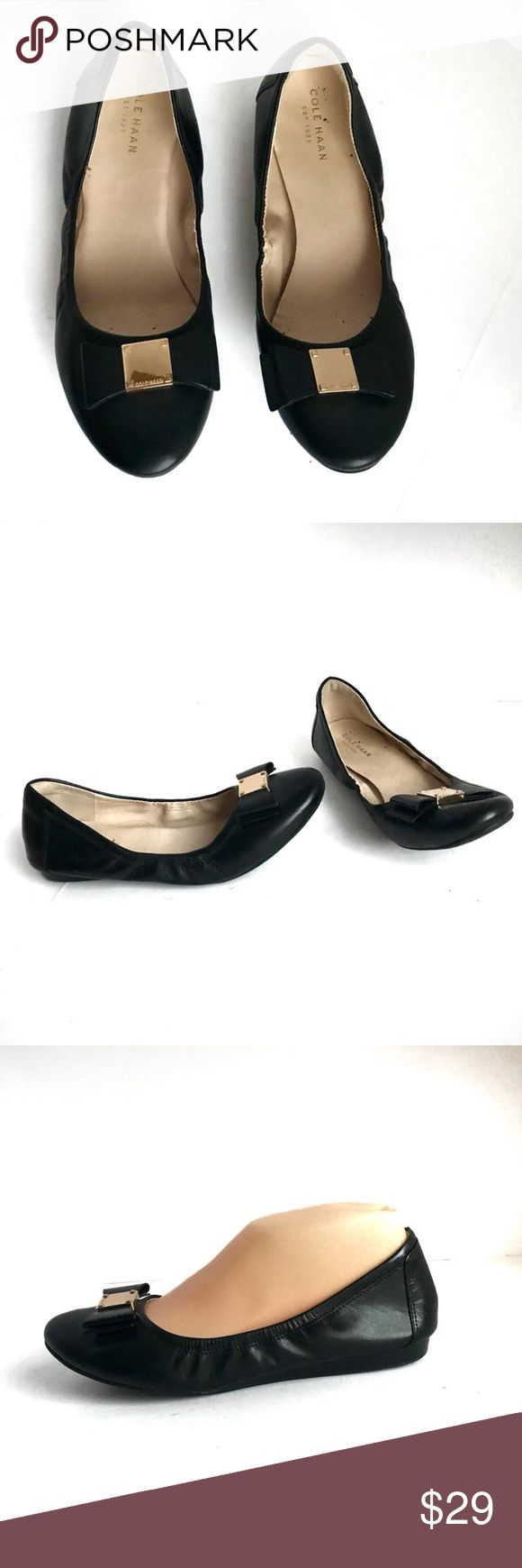 COLE HAAN Elsie Ballet II Flats 7B Black Leather Cole Haan  Ballet Flats Black with Gold Hardware Excellent Condition Size 7 B  Please see all photos Thank you!!! Cole Haan Shoes Flats & Loafers