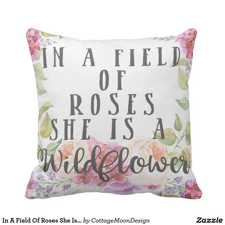 In A Field Of Roses She Is A Wildflower Pillow  Shabby Chic Boho Nursery Baby Girl Nusery Room Decor