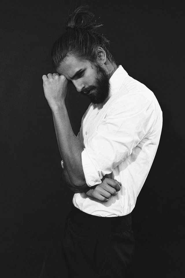 man bun + beard