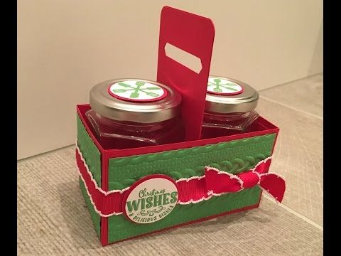 CraftyCarolineCreates: Handmade Gift Box for two Jam Jars using Yummy Little Christmas by Stampin' Up - Video Tutorial.