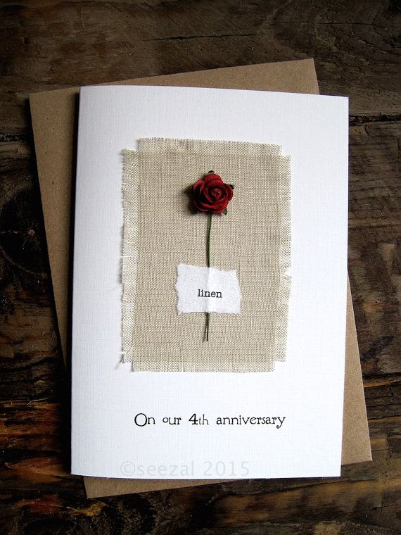 4th Anniversary Keepsake Card LINEN Natural Linen By ArtBySeezal