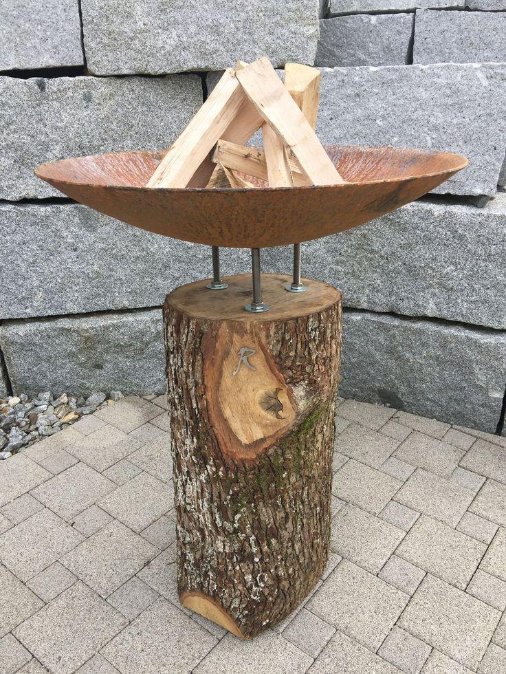 feuerstamm wood - design feuerschale auf festem Stamm - einzigartig von stahl-art Rufer