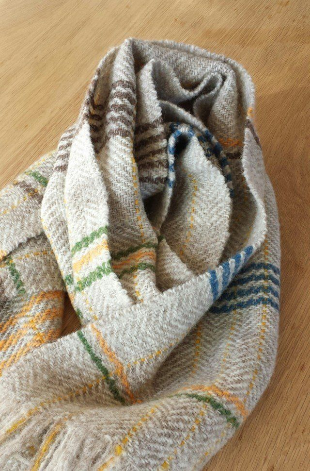 ホームスパン しまマフラー 02 Iichi ハンドメイド クラフト作品 手仕事品の通販 糸紡ぎ 手織り ハンドメイドクラフト