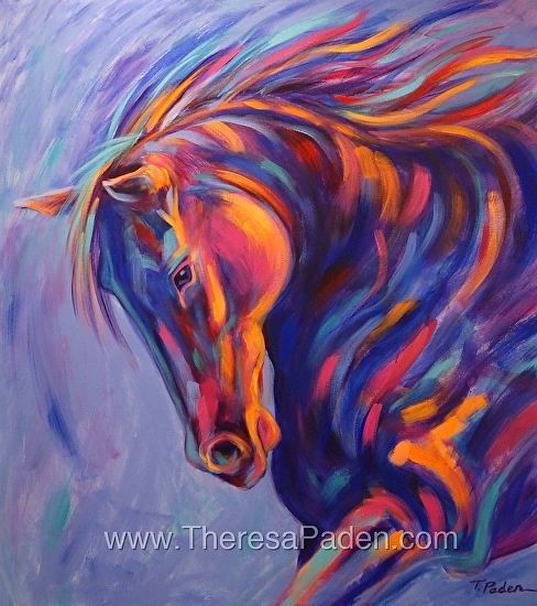 """Tango by Theresa Paden, Acrylic paint on a 40"""" x 36"""" canvas, 1.5"""" thick.: Color, Theresa Paths, Original, Horse Paintings, Equine Art, Horses Paintings, Horse Art, Animal"""