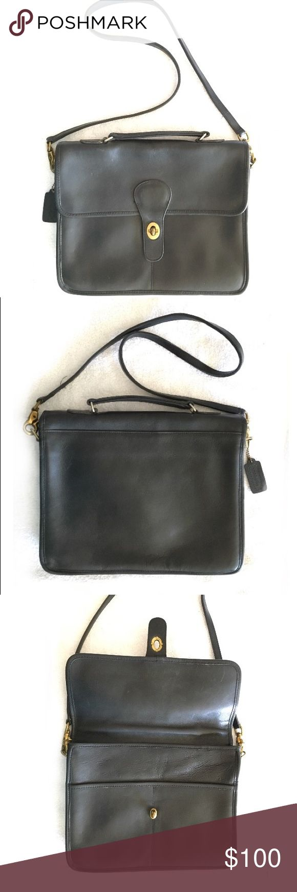 Coach Vintage Black Station Bag Purse NY USA Gorgeous Coach Vintage Black Station Bag - made in New York!  Excellent vintage condition - very little visible wear. The interior zip is a little rough and tarnished. Coach Bags Shoulder Bags