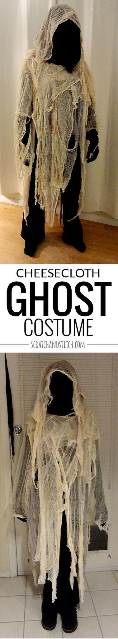 Easy Cheesecloth Ghost Costume by scratchandstitch.com