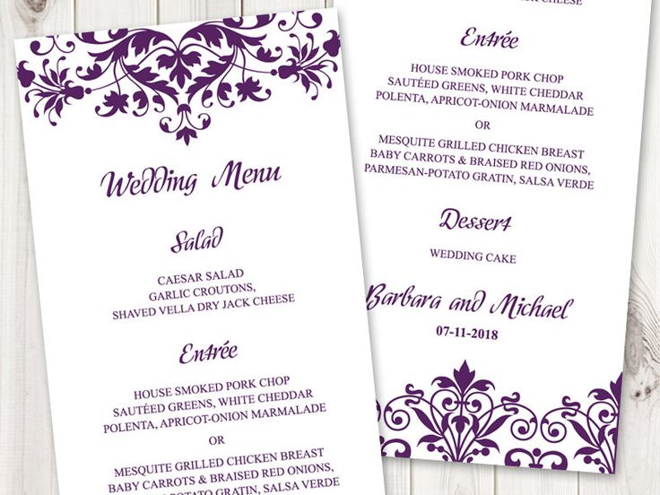 8 best Wedding Invitation Templates  - microsoft word menu templates