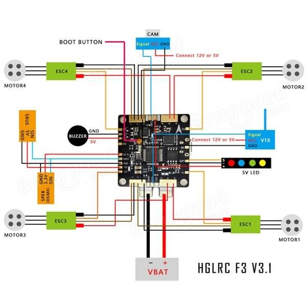 New Racing F3 V3 6dof Flight Control Aio Intergrated With