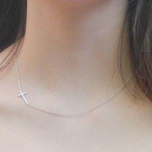 BLUVF Sideways Cross Necklace