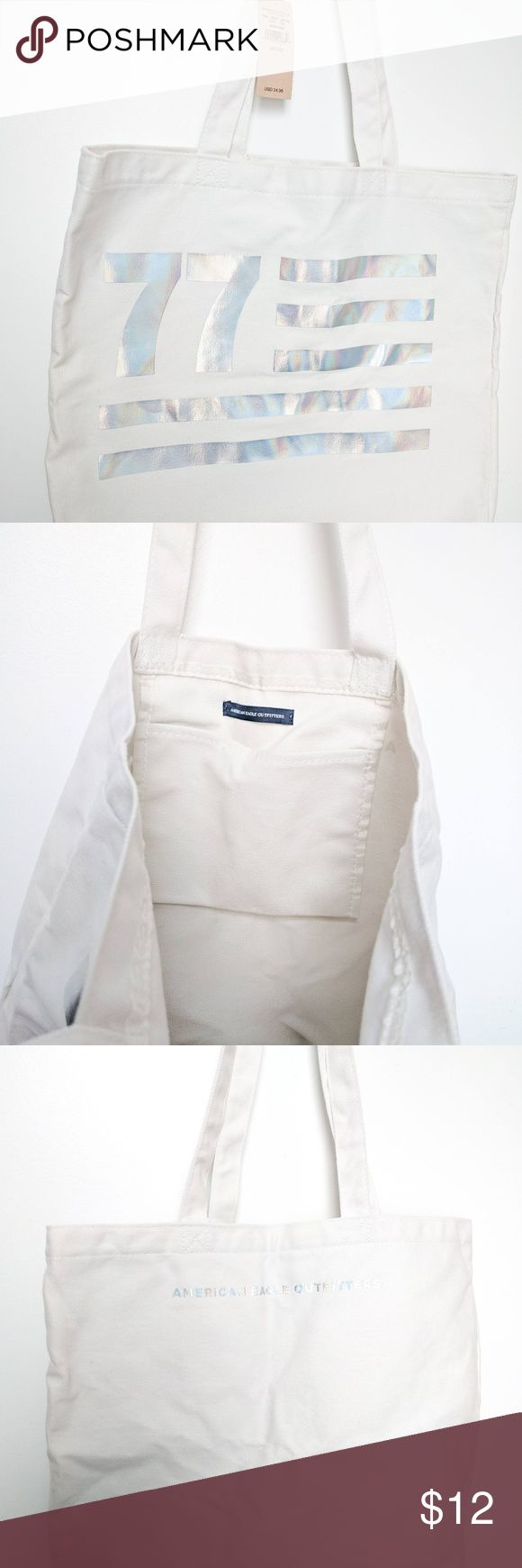 NWT American Eagle White Tote Bag Brand New NWT American Eagle white tote bag with holographic lettering. Never used! American Eagle Outfitters Bags Totes