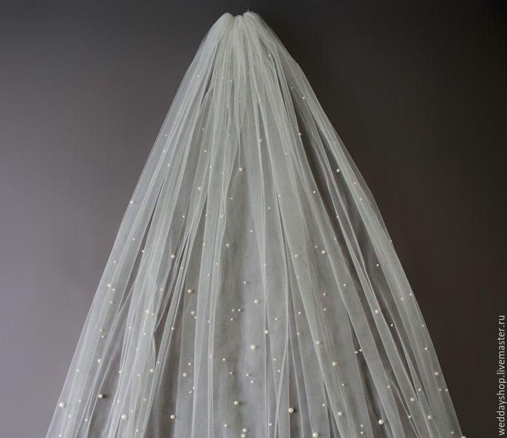 """Купить Свадебная фата с жемчугом """"Magic"""". - белый, айвори, фата, фата невесты, фата длинная"""
