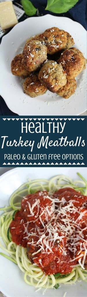 This Healthy Turkey Meatballs Recipe is a nutritious twist on a classic dish. Made with turkey, Parmesan cheese & fresh herbs- they're the perfect dinner. I love pairing them over zucchini noodles or a big bowl of whole grain pasta! | meatballs | healthy