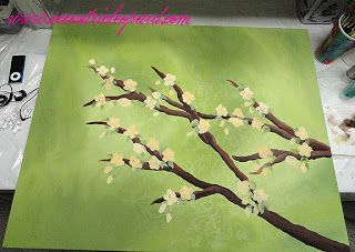 The Eccentric Leopard: Painted Branch Canvas DIY