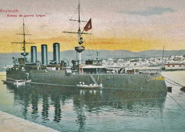 An Ottoman warship in the harbour of Beirut (Lebanon), early 20th century.