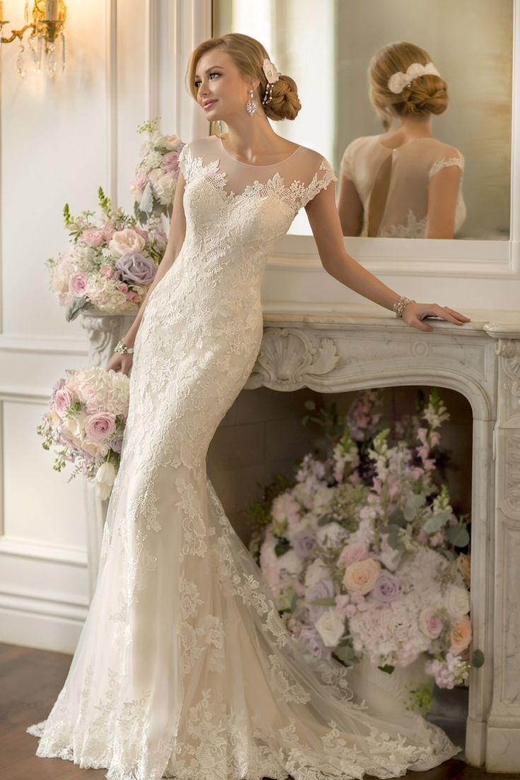 2015 Scoop Wedding Dress Sheath/Column With Applique Tulle Chapel Train USD 259.99 BAPEEDXXCG - BallProm.com