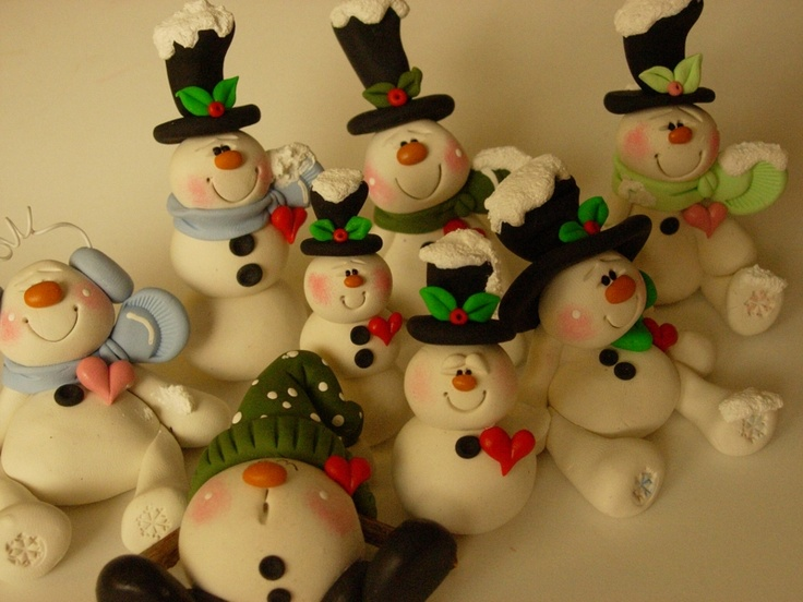 polymer clay snowmen
