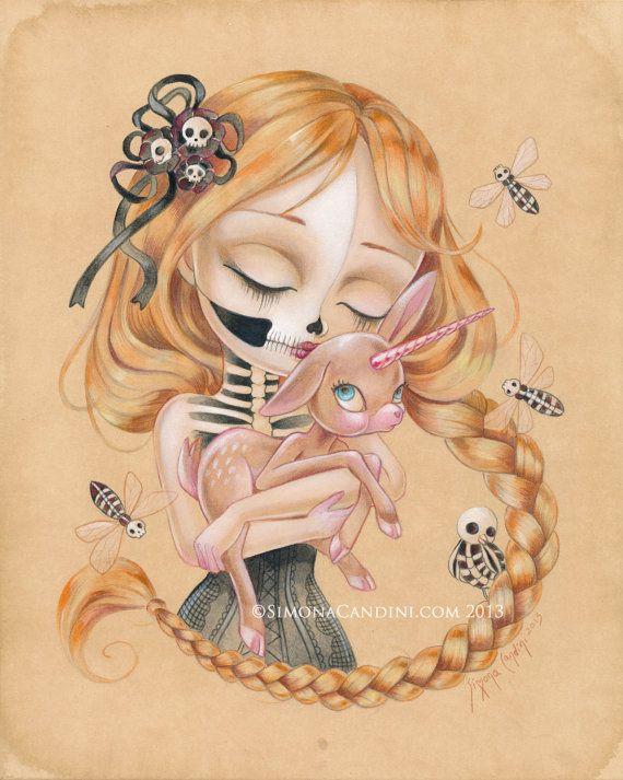 Enchanté de baiser de la mort-vivant beauté LIMITED EDITION impression signée numérotée Simona Candini Art lowbrow pop surréaliste fantastique Licorne de crâne