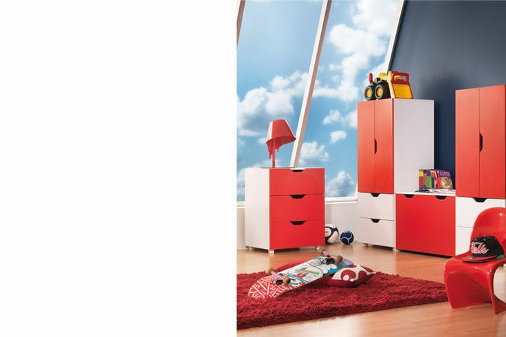 Deck your kids bedroom out with racing red furniture! #kidsfurniture #kidsdrawers #kidsdesk #kidswardrobe
