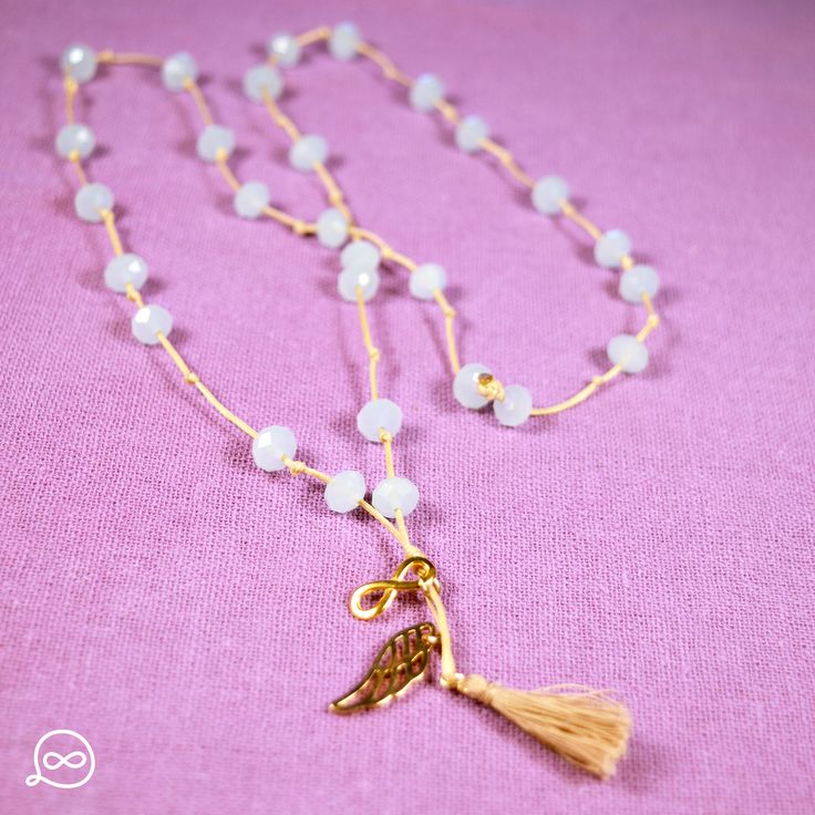 Gold Plated Wing & Tassel Necklace. #tufatufa