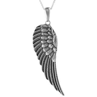 Tressa Collection Sterling Silver X-Large Angel Wing Necklace