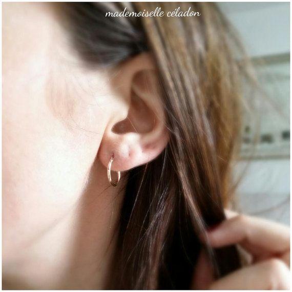 Créoles plaqué or 750/000 Boucles d'oreilles petites
