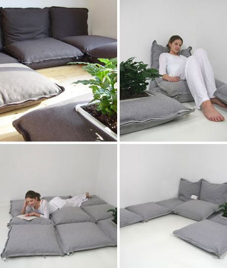 Couch poufs-pillows - free template