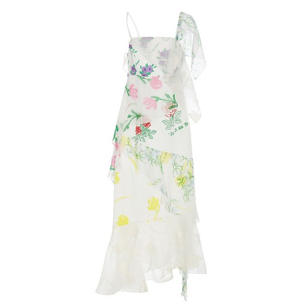 Rosie Assoulin Floral Layered Slip Dress ($2,795) ❤ liked on Polyvore featuring dresses, white, white cami, floral dresses, silk cami, silk camisole and white cami dress