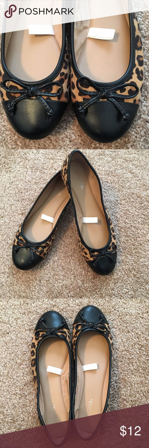 Merona leopard cap toe flats These shoes have been pre-loved but they are still in great condition, and they will add a little fun to any outfit. Feel free to make reasonable offers! Merona Shoes Flats & Loafers