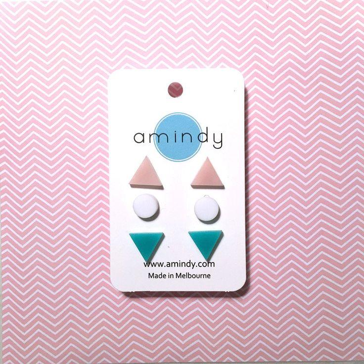 Amindy - GEO - Earring studs triple pack - aqua green, white, blush pink -  $35 - Shop online at www.amindy.com.au