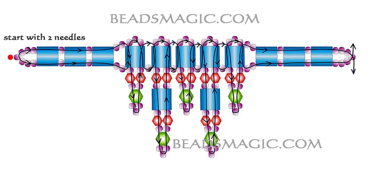 Free pattern for beaded necklace Green | Beads Magic