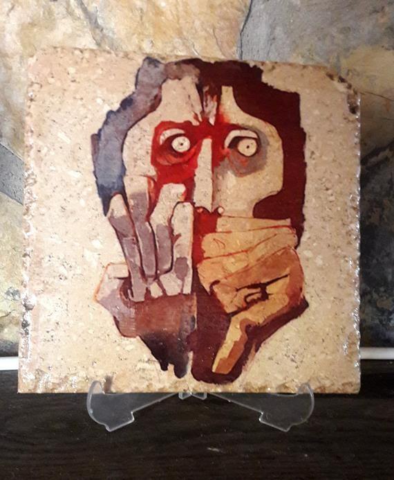 Oswaldo Guayasamin painting print on Anatolian natural stone, artprint, stone print,