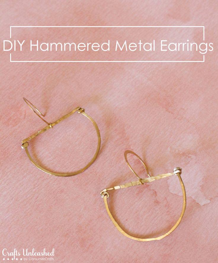 Earrings DIY Tutorial: Hammered Metal