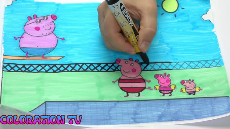 #25 How to draw Peppa Pig and Family Swimming in Pool? Coloring for kid!...