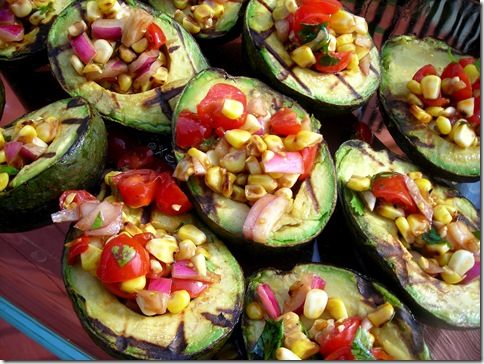 my latest obsession...avocados.  this sounds yum...  Avocados, corn, grape tomatoes, red onion, balsamic vinegar, olive oil, cilantro, cayenne or chili powder, lime squeezed over avocado before serving...