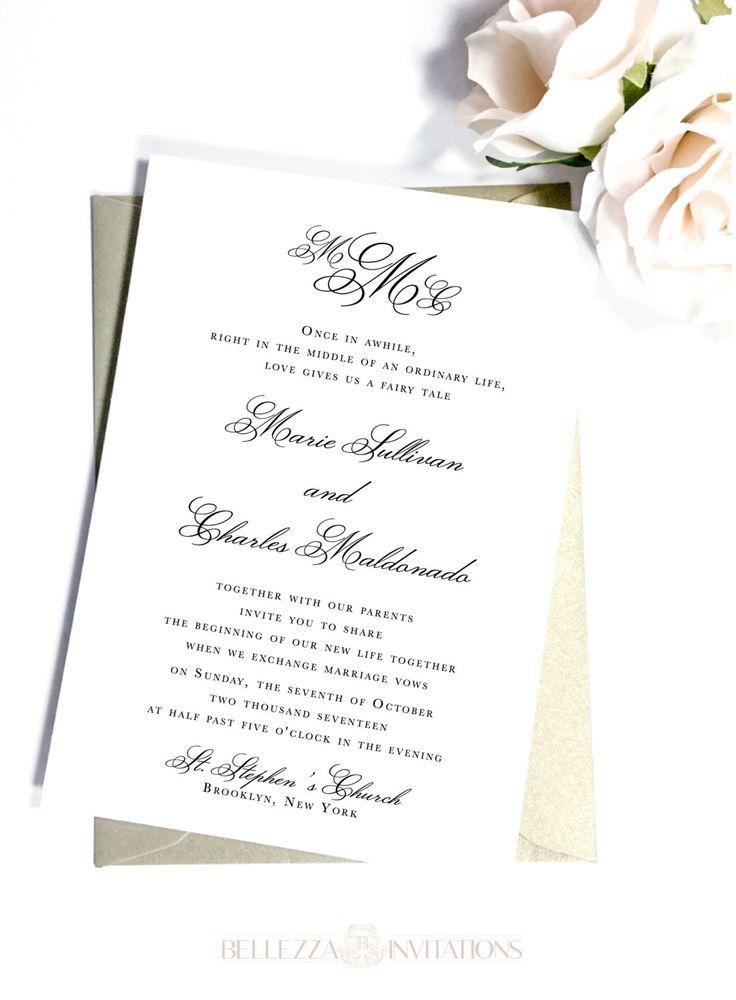 Simple Elegant  Wedding Invitations, Simple Elegant Wedding Invitations, Black and White Wedding Invitations, Classic Wedding Invitations by BellezzaInvitations on Etsy