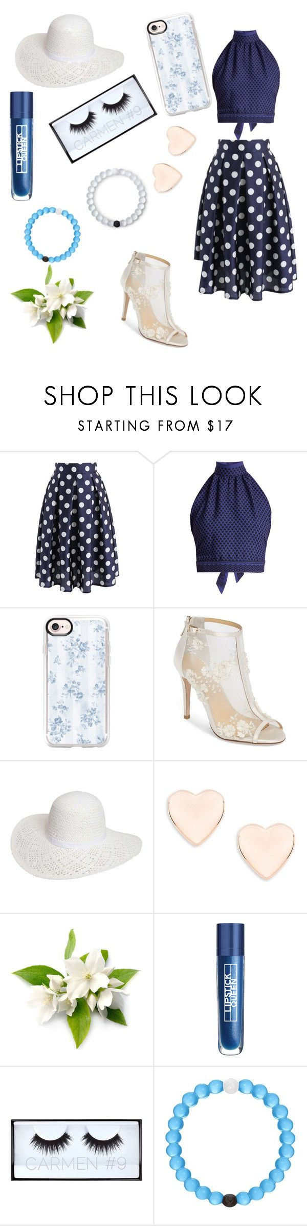 """""""Tangled Up In Blue"""" by lolurnotalexturner ❤ liked on Polyvore featuring Chicwish, CECILIE Copenhagen, Casetify, Bella Belle, Dorothy Perkins, Ted Baker, Lipstick Queen, Huda Beauty and Lokai"""