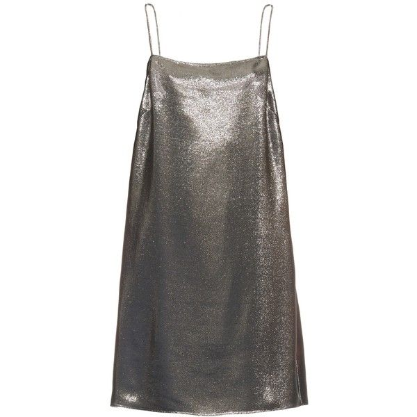 Saint Laurent Square-neck lamé cami dress found on Polyvore featuring dresses, silver, square neckline dress, cami slip dress, lace up dress, lace up front dress and yves saint laurent