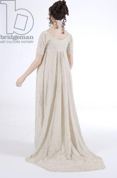 Evening dress, 1800 (cotton muslin & glass beads)