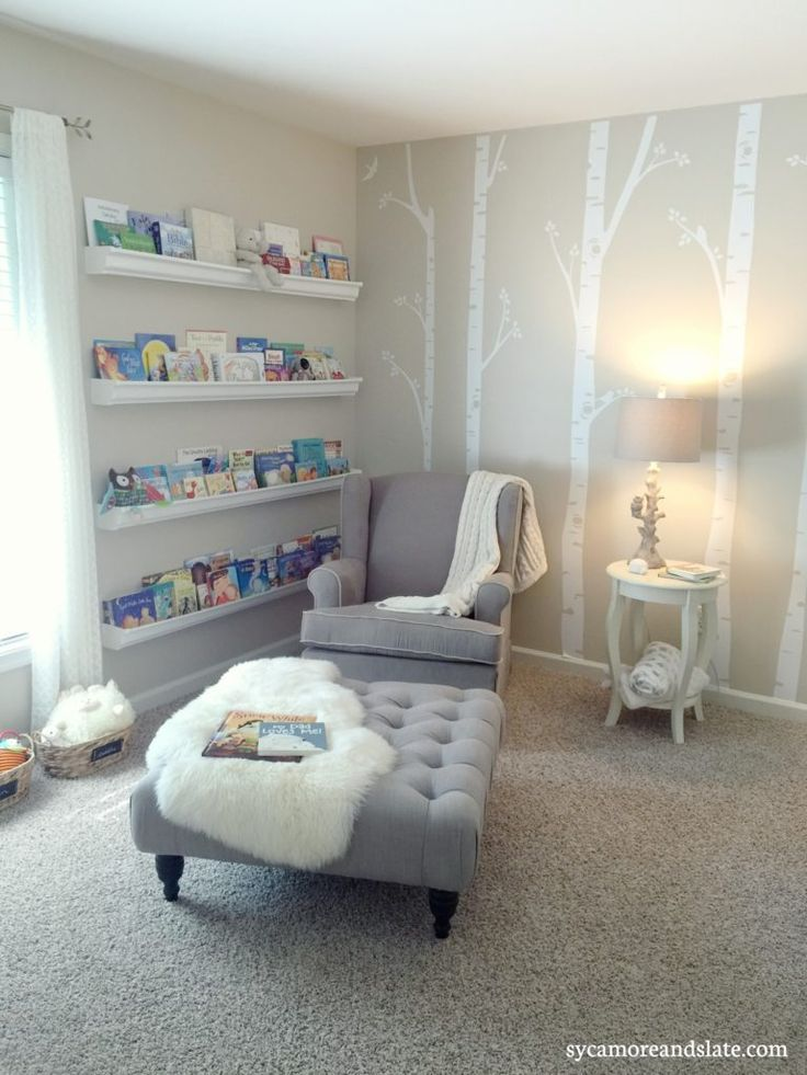 Woodland Nursery - DIY birch tree vinyl decals.  Made with Silhouette Cameo.  Also, DIY gutter bookshelves help make this neutral nursery perfect for baby girl.