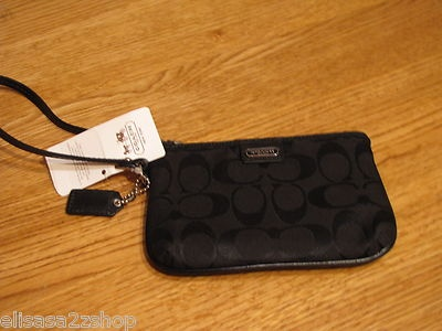 Coach 48640B SBKBK wristlet wallet coin purse Box Sig SM black signature NEW NWT